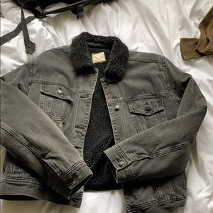 Sherpa lined black jean jacket